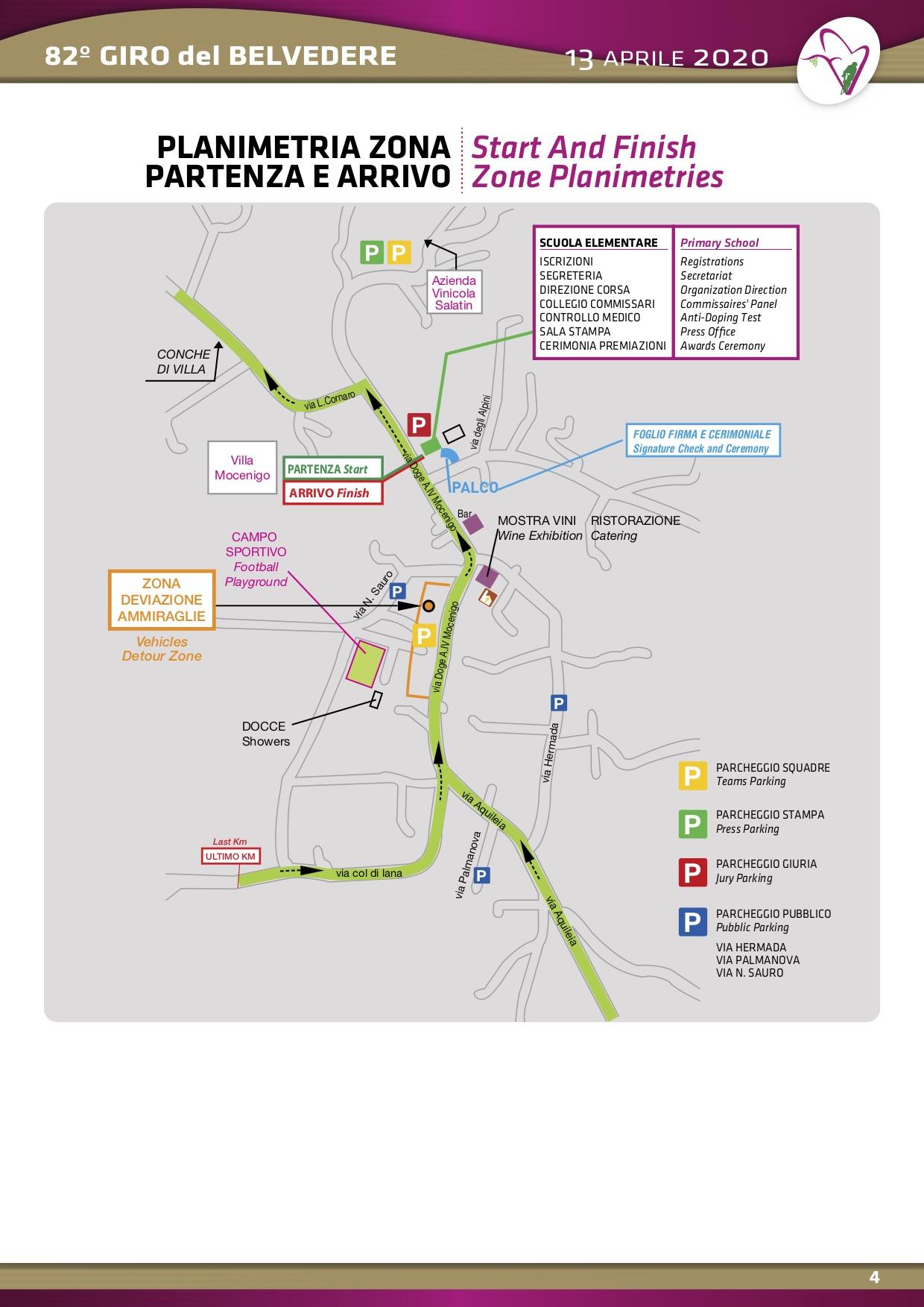 Giro del Belvedere - Planimetria zona partenza e arrivo 2017