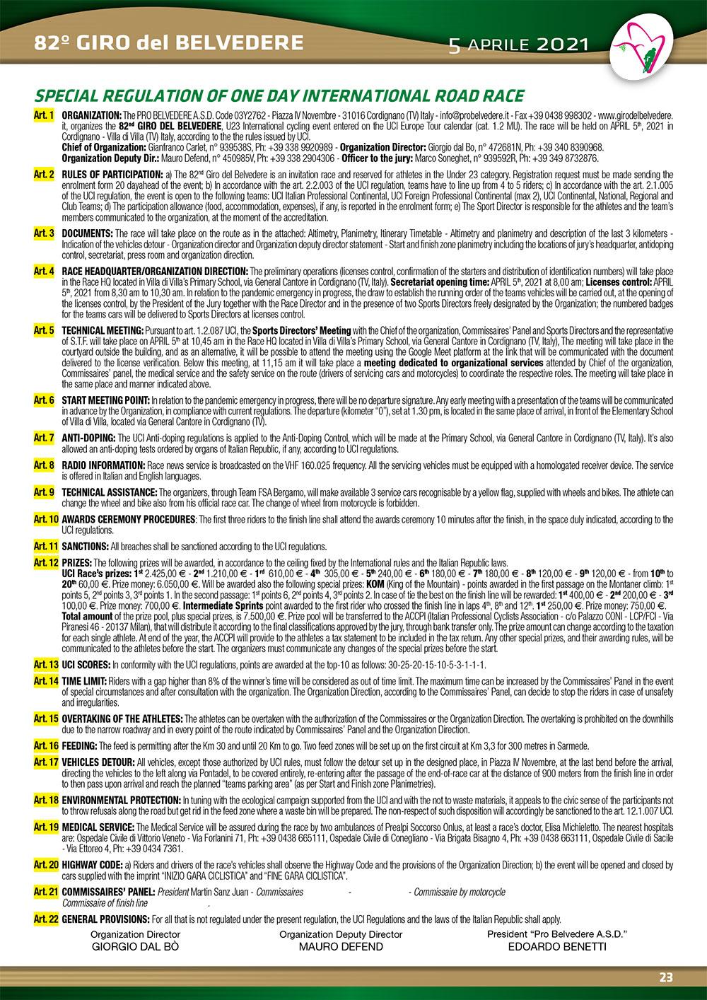Giro del Belvedere - Rules 2017